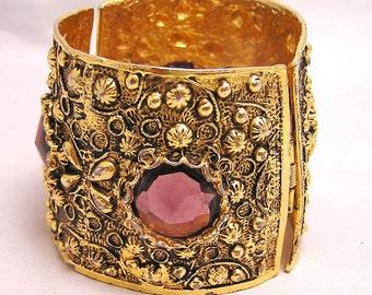 Vintage Wide Etruscan Style  Bracelet with Purple Stones. C1