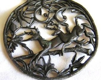 Vintage Open Work Metal Deer in Woods Pendant J76