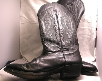 Vintage Nicona Black Leather Cowboy Boots Size 11