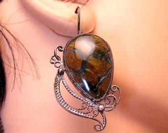 Antique Earrings Agate and Sterling Filigree Pierced Earrings (J49)