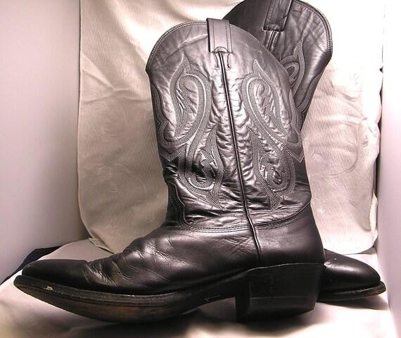 Vintage Nicona Black Leather Cowboy Boots Size 11