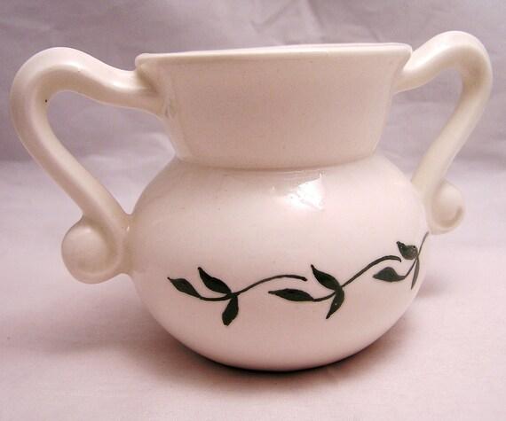 Vintage 1940s Ceramic Vase with Vine Design.