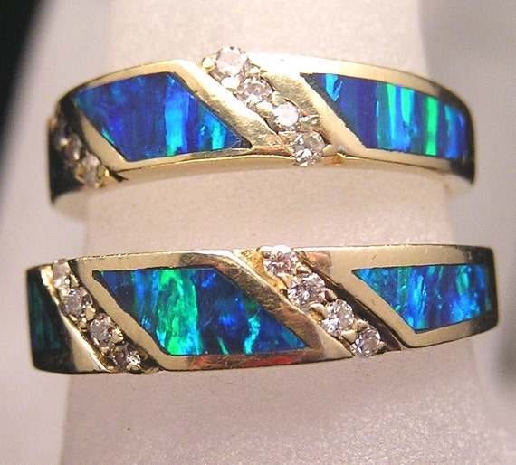 14k yellow gold and opal wedding band set australian black or boulder opal and diamond - Black Opal Wedding Rings