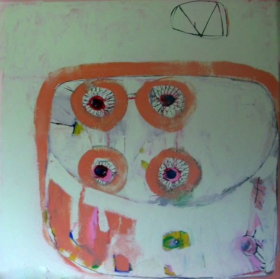 reserved for denise. Four Eyes, Original abstract southwestern painting on wood