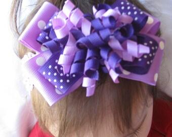 Purple and Lilac Layered Korker Hair Bow Headband