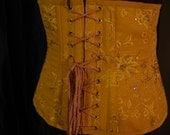 Discounted Mustard Underbust Corset with Embroidery and Sequins, 35inch waist, Victorian