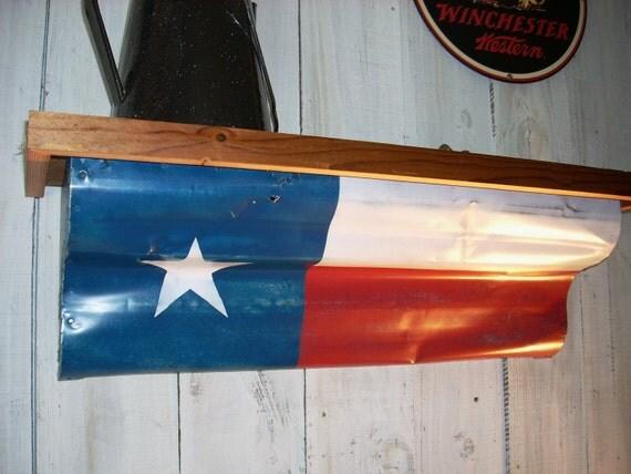 Western Furniture Shelves Salvaged Tin Texas Flag Shelf