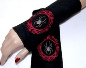Dark Red Cameo Black Widow Spider Embroidered Fleece Arm Warmers MTCoffinz