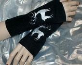 Silver Patronus Stag Embroidered Black Fleece Arm Warmers MTCoffinz