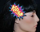 KAPOW Comic Book Star Burst Words UV GLOW Embroidered Hair Clip MTCoffinz