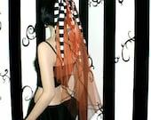Nightmare Striped Orange Veil MTCoffinz --- ready to ship