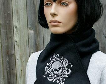 Damask Skull-- Embroidered Black Fleece Scarf --Choose ANY Thread Color