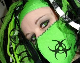 Black Biohazard Neon Green Surgical Mask MTCoffinz