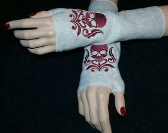 Embroidered Damask Skull Fleece Arm Warmers Burgundy / Gray MTCoffinz