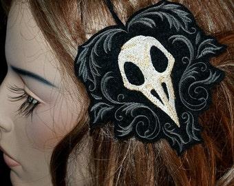 Gothic Raven Skull Embroidered Headband MTCoffinz