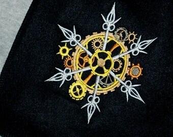 SteamPunk Snowflake Gear-- Embroidered Scarf  Black MTCoffinz