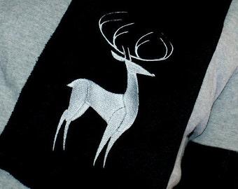 Patronus Silver Stag-- Embroidered Scarf  Black MTCoffinz
