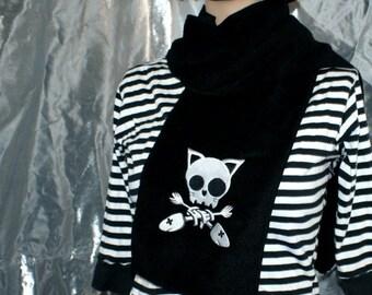 Kitty Skull Crossbones -- Embroidered Scarf  Black MTCoffinz