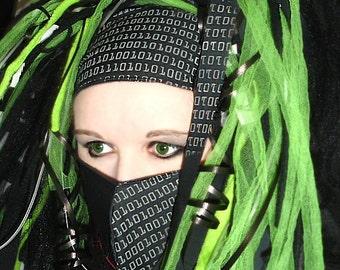 Glow in the Dark Binary Code Cyber Headband MTcoffinz - Ready to Ship - Closeout