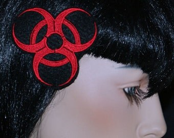 Neon Custom Color Biohazard Embroidered Hair Snap Clip MTCoffinz