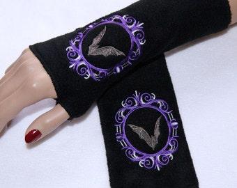 Purple Silver Cameo Vampire Bat Curio Gothic Embroidered Fleece Arm Warmers MTCoffinz
