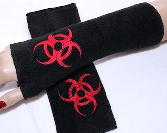 Red Biohazard Embroidered  Fleece Arm Warmers Black MTCoffinz
