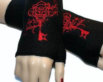 Embroidered Filigree Skeleton Key Fleece Arm Warmers Red / Black MTCoffinz