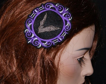 Vampire Bat Purple Silver Cameo Embroidered Goth Hair Clip MTCoffinz