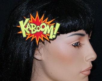 KABOOM Comic Book Star Burst Words UV GLOW Embroidered Hair Clip MTCoffinz
