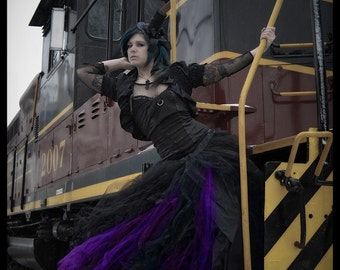 Black and Bright Purple Gothic Formal Wedding Skirt all sizes MTCoffinz