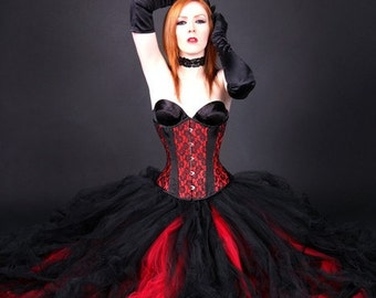Gothic Red Black Bridal skirt, floor length tulle tutu skirt Adult Small MTCoffinz - Ready to Ship