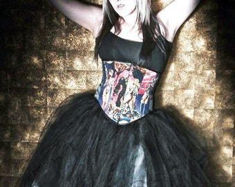 Black and White Gothic Bridal skirt, floor length tulle tutu skirtAdult ALL sizes MTCoffinz