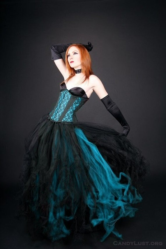Black and Teal Gothic Formal Wedding Skirt adult ALL sizes MTCoffinz