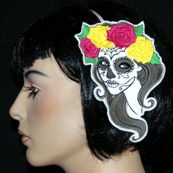 Voo Doo Skull Day of the Dead  Embroidered Headband MTCoffinz