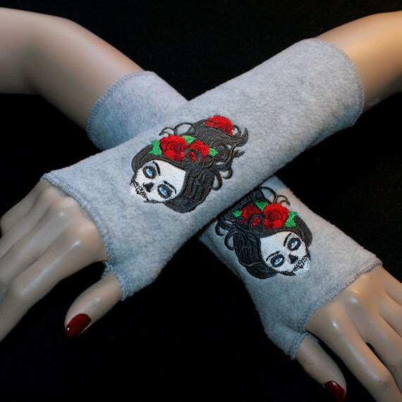 Embroidered Day of The Dead Skull Fleece Grey Arm Warmers MTCoffinz