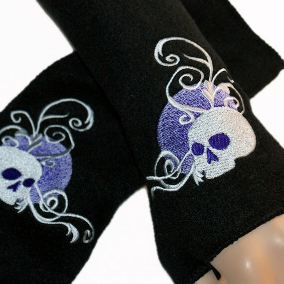 Embroidered Purple Moon Skull Fleece Arm Warmers Black MTCoffinz