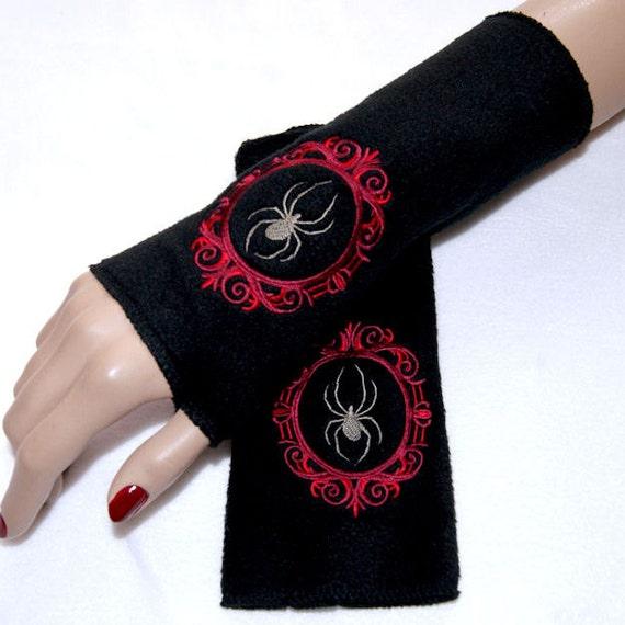 Dark Red Cameo Black Widow Spider Embroidered Fleece Arm Warmers MTCoffinz