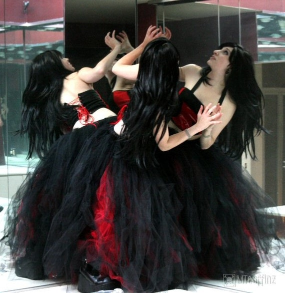Red and black gothic prom dresses