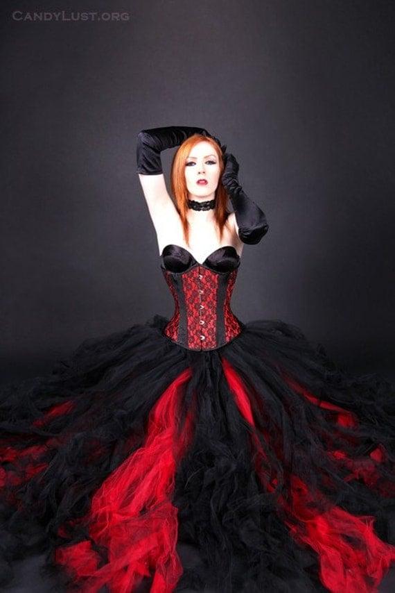 Wedding attire gothic red black noir formal bridal bride for Black gothic wedding dress