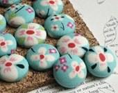 Aqua Blossoms. . . 16 Fabric Push Pins