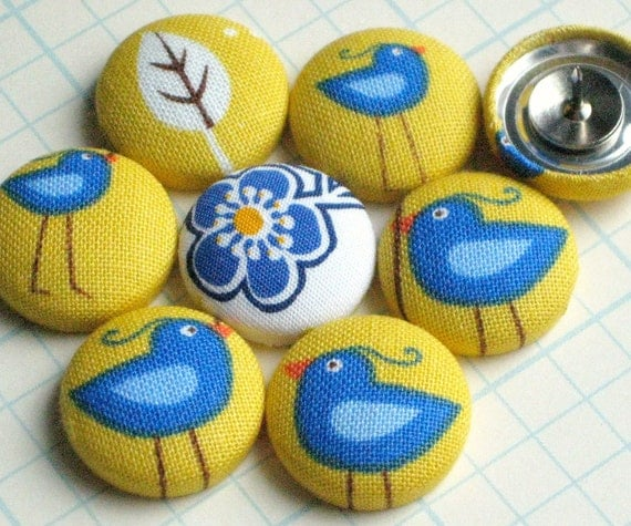 Friendly Flock...Tack Pack of 8. Fabric Push Pins. Last One