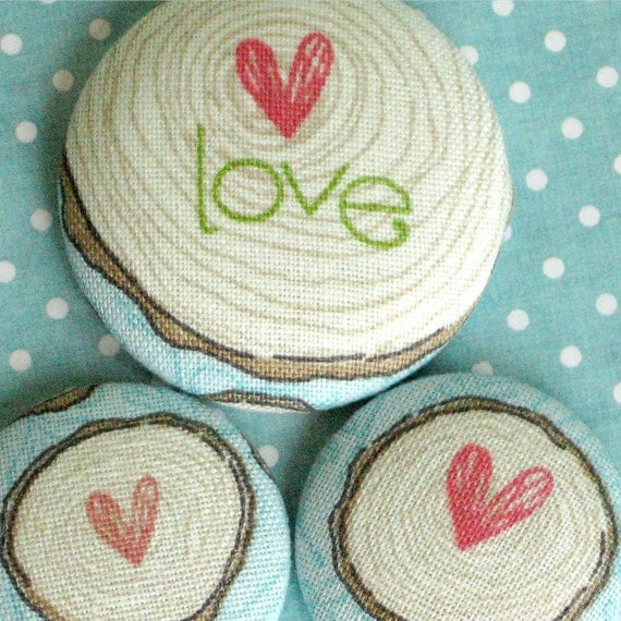 Love...3 Inspirational Fabric Magnets