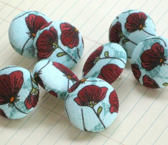 Sale. Poppies...Tack Pack of 8. Fabric Push Pins. Gift tin
