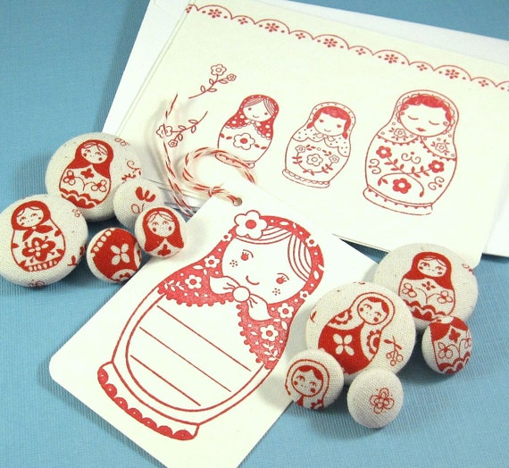 Matryoshka Gift Set...Coordinating Paper and Fabric Accessories