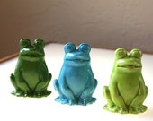 Ceramic Frogs - Three Amigos in Clover Green, Turquoise, and Lime Green