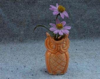 Tiny Owl Vase Pair in Stoneware with Orange Glaze