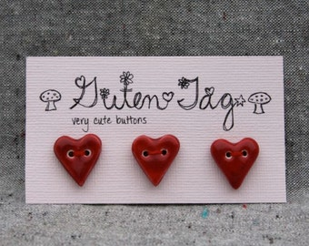 Heart Ceramic Button Porcelain with Red Glaze