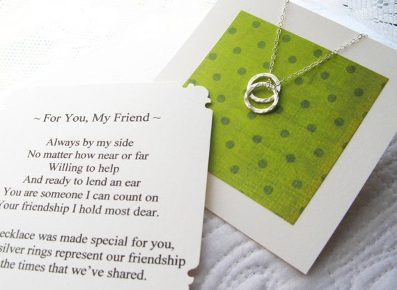 RESERVED for Naomi -For You, My Friend - Friendship Keepsake Necklace  w/ Poem Note Card Included - Sterling Silver