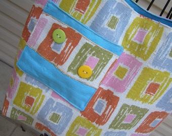 Tote Bag  Barkcloth in Retro Squares (406)