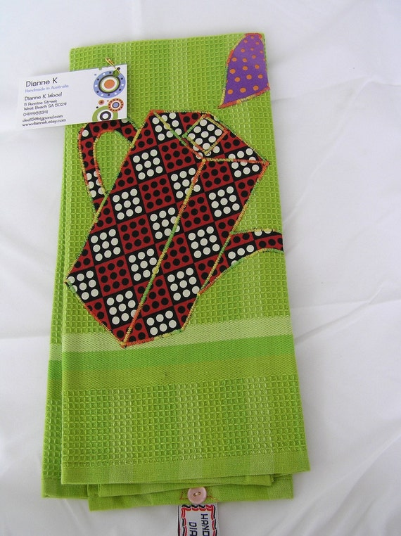 Tea Towel   Funky Lime Green Appliqued  (187)